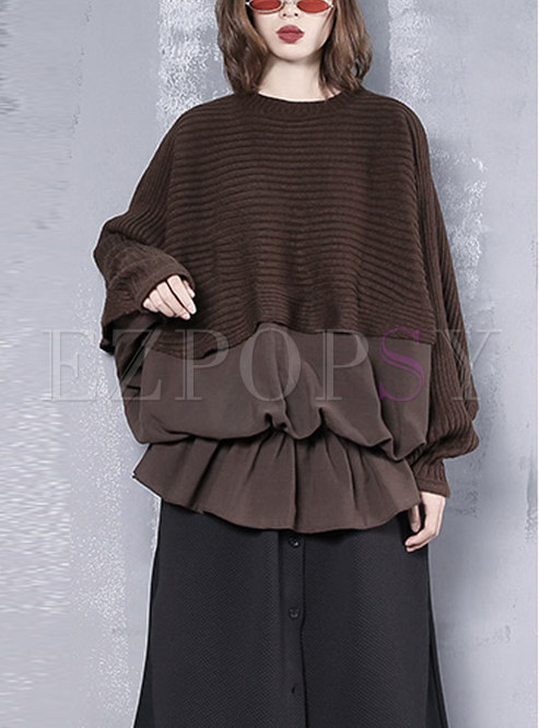 Solid Color Splicing Bat Sleeve Falbala Sweatshirt