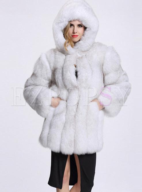 Solid Color Hooded Long Sleeve Slim Fur Coat