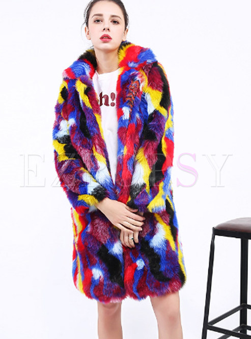 Fashion Lapel Multicolor Knee-length Coat
