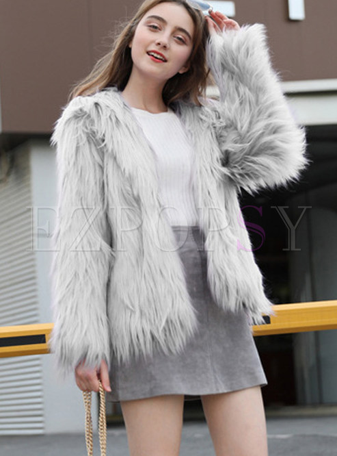 Trendy Long Sleeve Short Pure Color Short Coat
