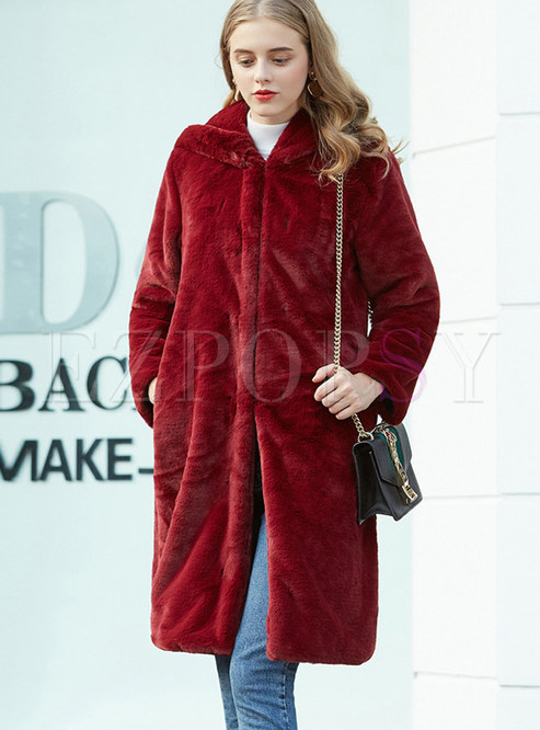Solid Color Hooded Faux Shearling Coat