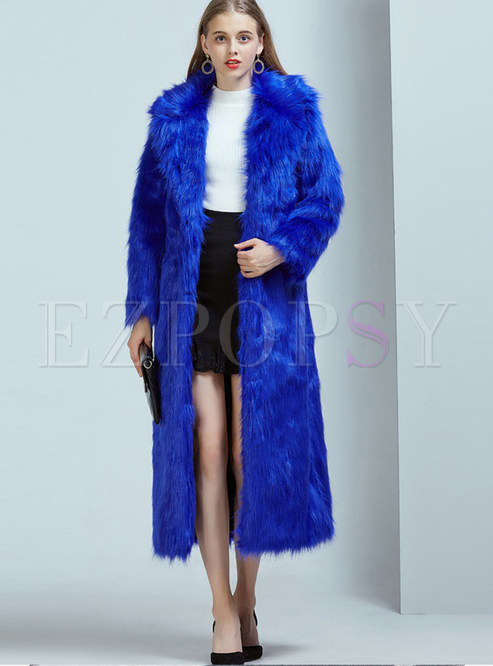 Blue Notched Long Sleeve Faux Shearling Coat