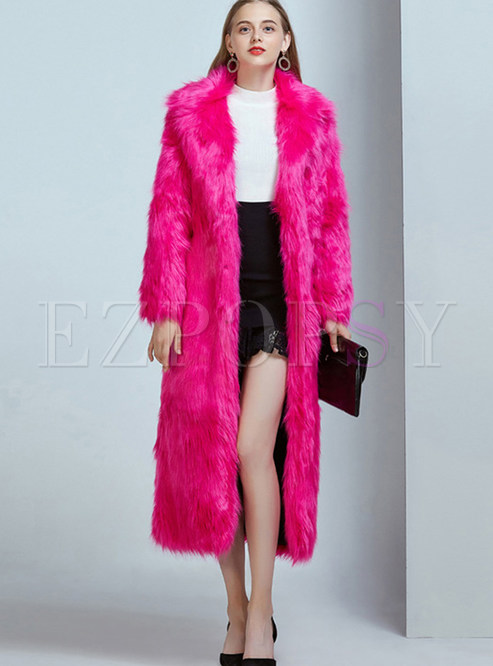 Solid Color Single-breasted Faux Shearling Coat