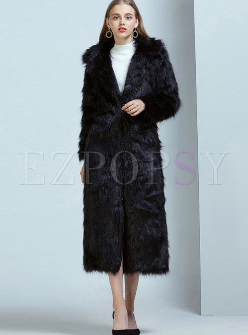 Pure Color Notched Long Slim Fur Coat
