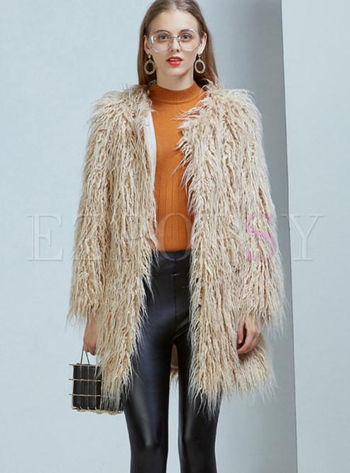 Khaki Long Sleeve Slim Faux Fur Coat