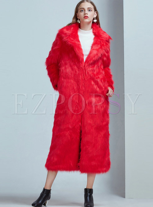 Notched Long Sleeve Faux Shearling Coat