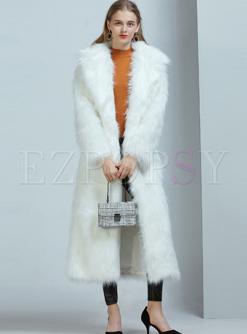 Long Sleeve Straight Long Faux Shearling Coat