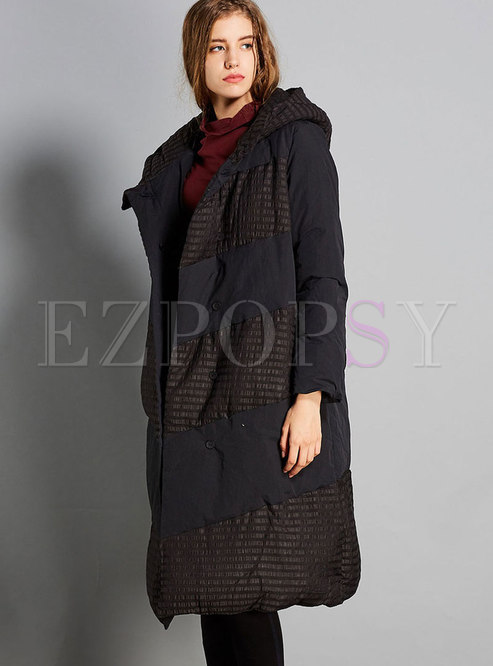 Winter Hooded Cotton Knee-length Down Coat