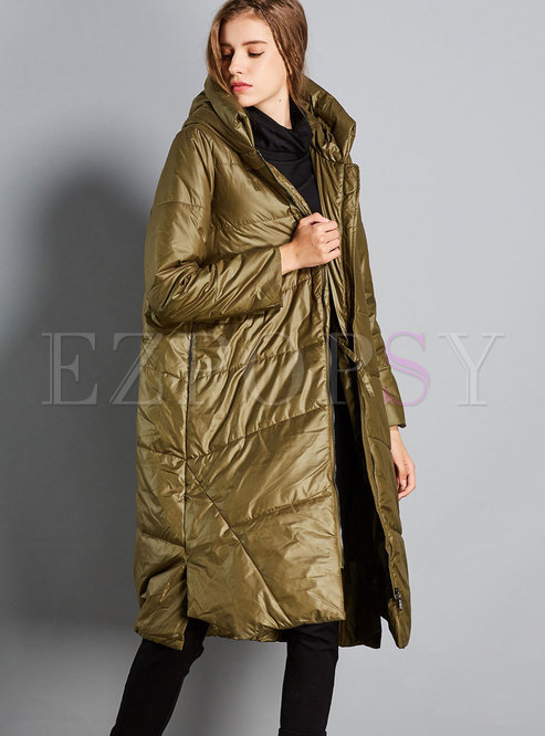 Fashion Green Hooded Cocoon Cotton Coat
