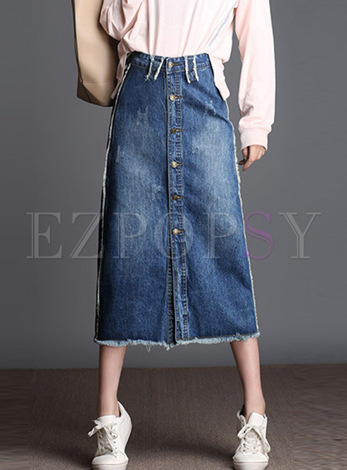 Plus Size Single-breasted A Line Denim Skirt