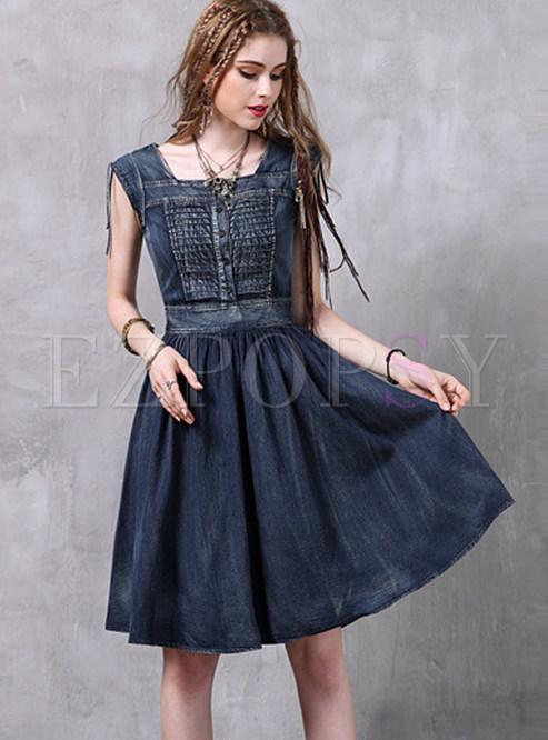 Square Neck Waist A Line Denim Dress