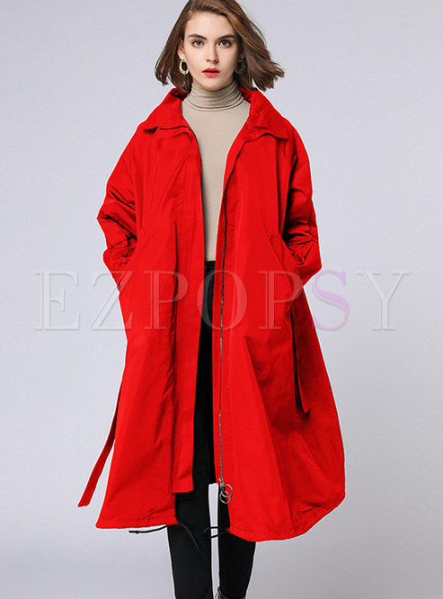 5d34447a6c14e Trench Coats.   Autumn Plus Size Red Belted ...