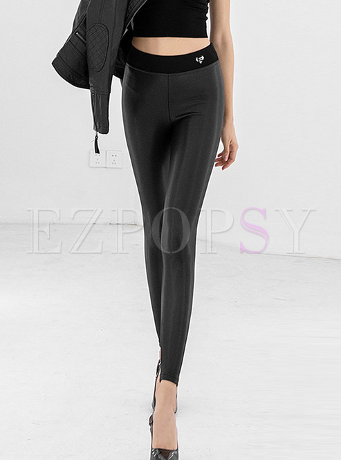 Solid Color High Waist Slim PU Plus Velvet Pants
