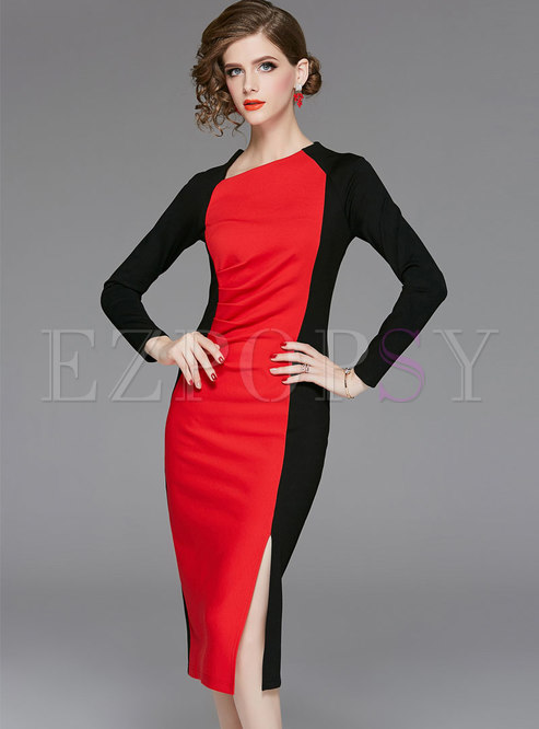 Stylish Color-blocked Bodycon Dress With Split