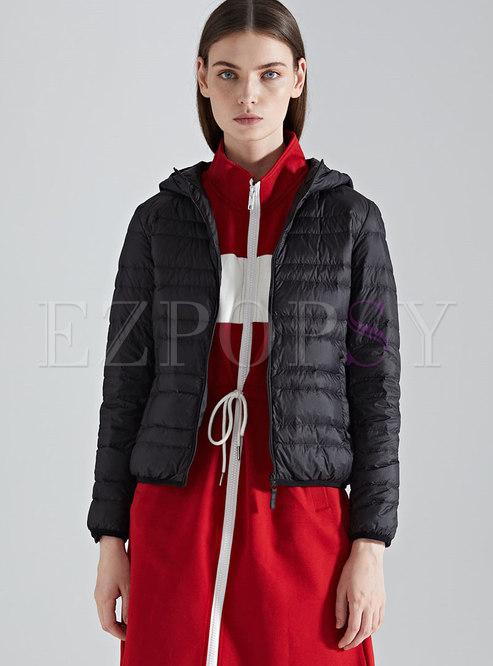 Winter Black Hooded Plus Size Down Jacket