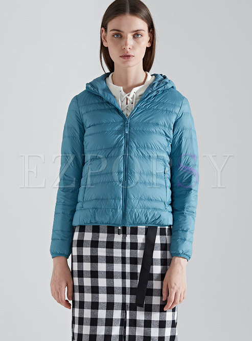 Winter Lake Blue Hooded Plus Size Down Jacket
