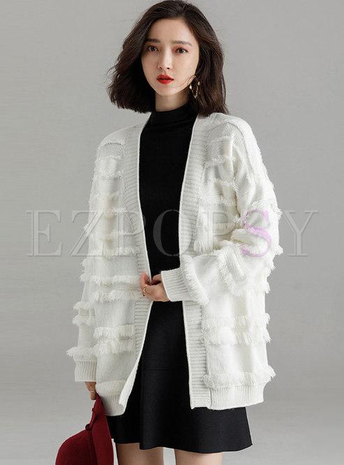 Fashion White Fringed Cardigan Knitted Sweater