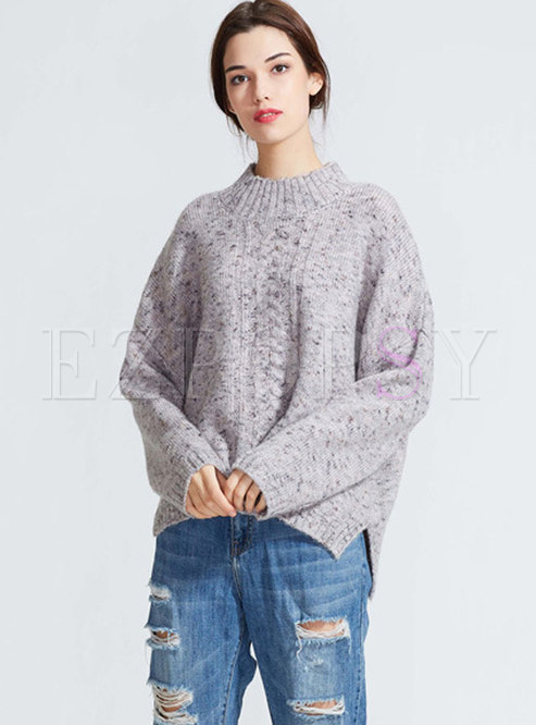 Casual Pure Color Crew-neck Long Sleeve Sweater