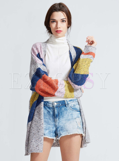 Casual Grey Plus Size Multicolor Elegant Cardigan