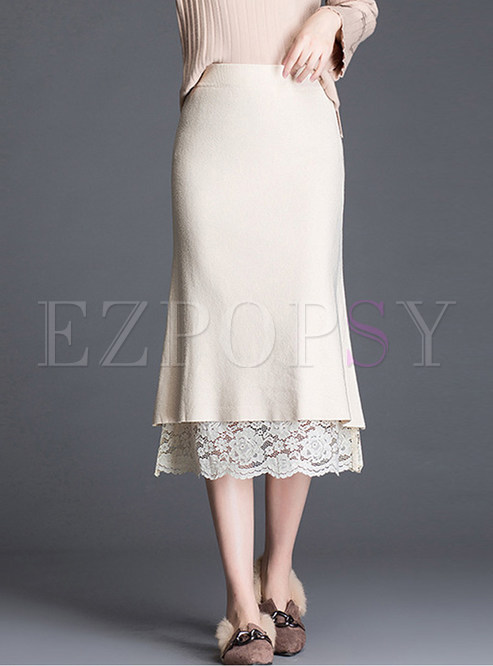 Pure Color Elastic Waist Lace Patchwork Knitted Skirt