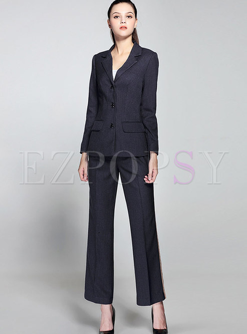 OL Work Lapel Striped Blazer & Slim Straight Pants