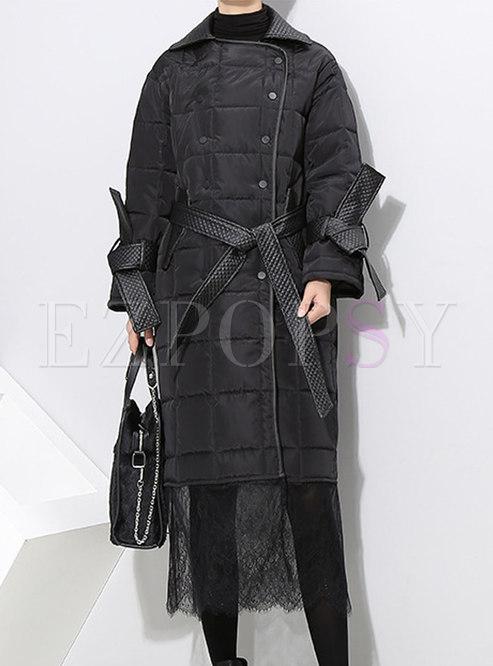 Fashion Black Lace-paneled Plus Size Cotton Coat