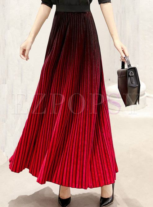 Chic Velvet Gradient Maxi Skirt With Big Hem