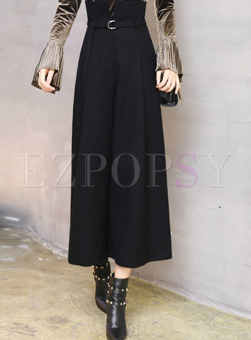 Trendy High Waist Hairy Wide-leg Pants