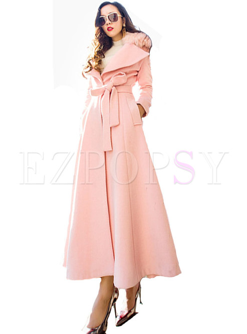 Pink Turn-down Collar Tied Hairy Slim Long Coat