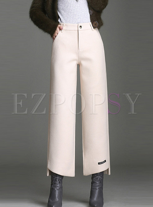 Trendy High Waist Slit Wide Leg Pants With Button