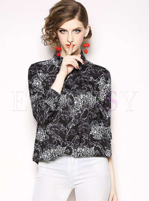 Fashion Turn-down Collar All Over Print Silk Blouse