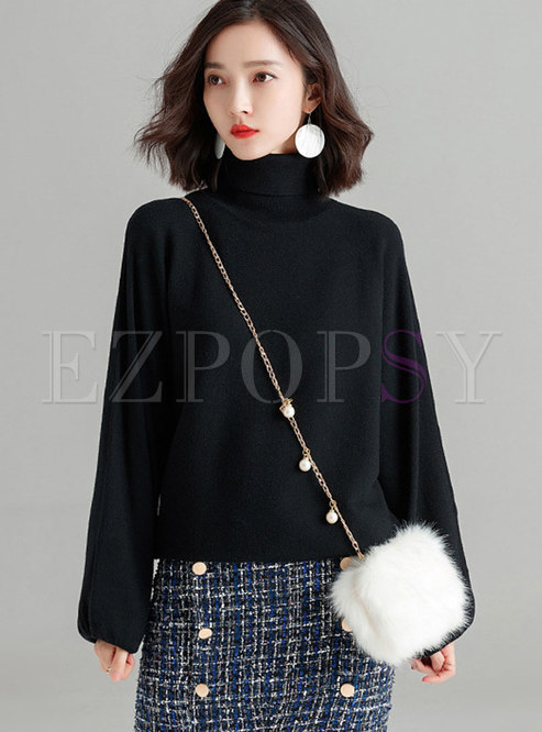 Casual Black High Neck Long Sleeve Knitting Sweater