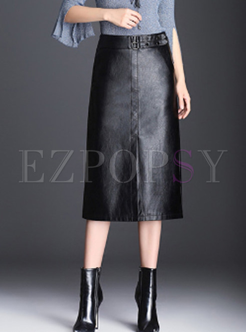 Black Casual PU Slit Midi Bodycon Skirt