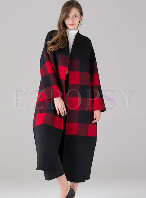 Trendy V-neck Hit Color Plaid Knee-length Coat