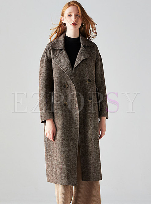 Fashion Monochrome Turn-down Collar Buttoned Coat