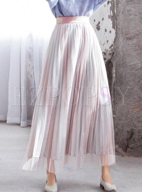 Sweet Elastic Waist Color-blocked Mesh Skirt