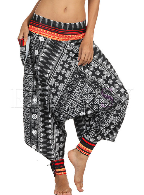Vintage Ethnic Digital Print Wide-leg Yoga Pants
