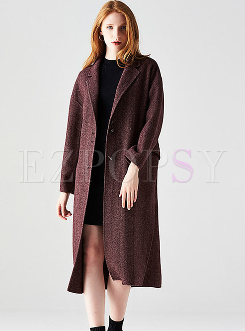 Winter Purple Striped Long Sleeve Straight Coat