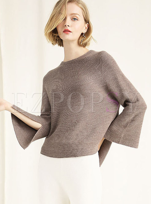 Casual Pure Color Flare Sleeve Split Knitting Sweater