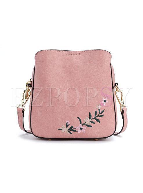 Fashion Pink Print Zipper Bucket Bag