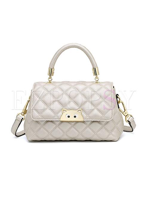 Fashionable Casual Plaid Pearl White Crossbody Bag