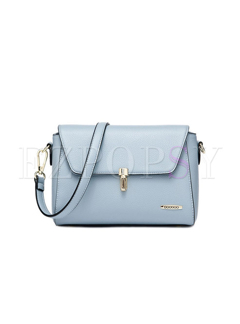 Brief Boston Clasp Lock PU Stereoscopic Crossbody Bag