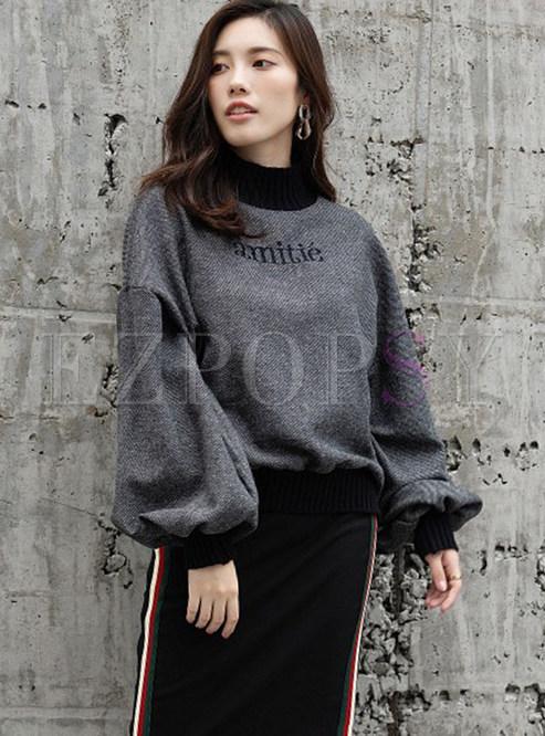Casual Turtle Neck Long Sleeve Pullover Sweatshirt