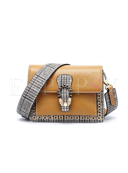 Stylish Color-blocked Square PU Clasp Lock Crossbody Bag
