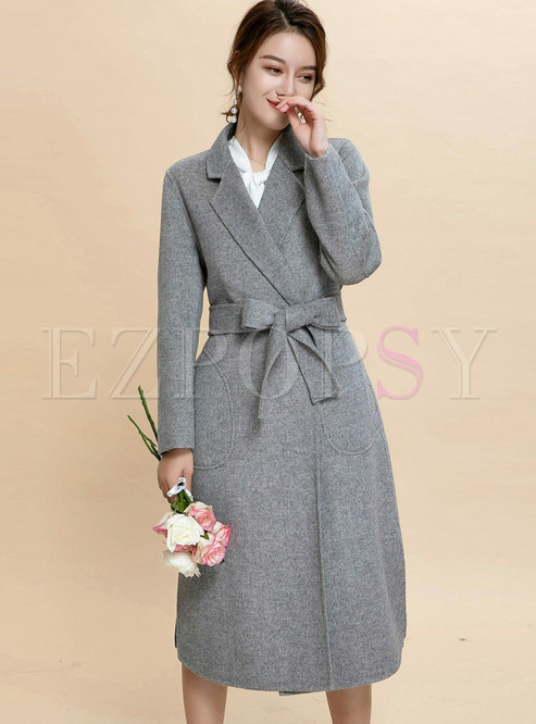 Notched Tie-waist Slit Long Coat With Pocket