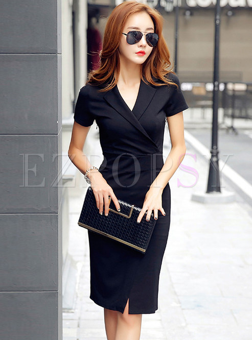 Trendy V-neck Tied-waist Skinny Work Dress