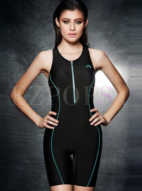 Color-blocked O-neck Zipper Slim Swimwear