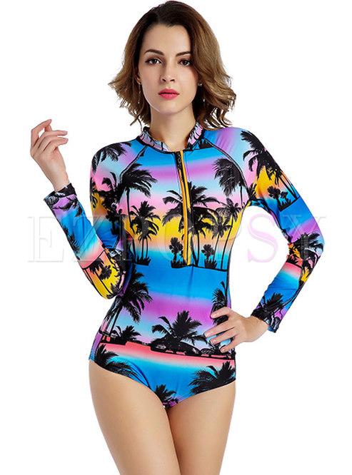 Chic Print Long Sleeve One Piece Swimwear