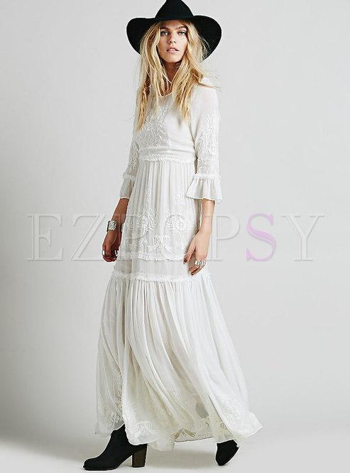 Bohemia White Embroidered Maxi Wedding Dress