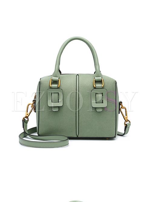 Solid Color Top Handle & Crossbody Bag